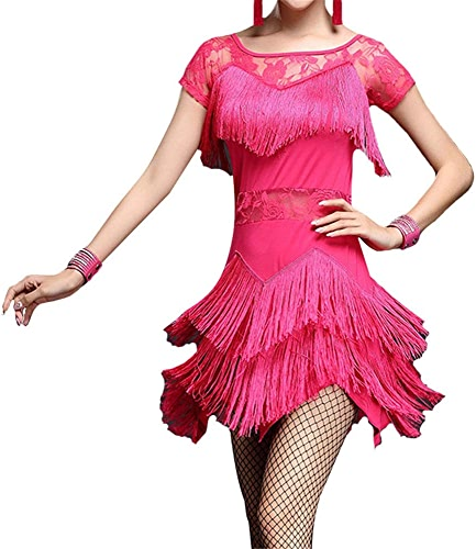 Robe de danse latine Robe de perforhommece Femmes Fringe Glands Flapper Tango Latin Rumba Robe De Danse à Manches Courtes Maille Floral Dentelle Salle De Bal Dancewear Pratique Concurrence Costumes De P