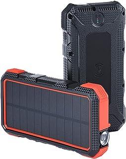 Trådlös solkraftsbank 20000mAh snabbladdning 18W trådlös snabbladdning 10W robust mobil strömförsörjning,Orange