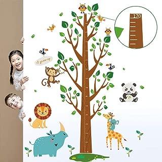 BIBITIME Jungle Animal Height Chart Tree Branch Birds Birdcage Monkey Lion Elephant Owl Wall Decal Sticker Nursery Growth Chart Mini scale: 70cm,Max scale: 170 cm