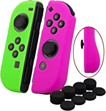 YoRHa Hand grip Silicone Cover Skin Case x 2 for Switch/NS/NX Joy-Con controller (dark pink+green) With Joy-Con thumb grips x 8