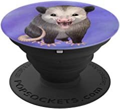 Happy Possum on a blue purple watercolor background - PopSockets Grip and Stand for Phones and Tablets