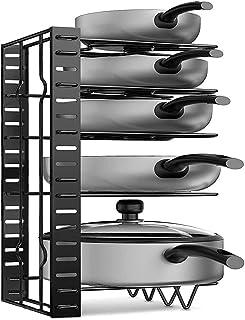APPUCOCO Universal Adjustable Metal Pan Pot Cookware Lid Utensil Tawa Plates Organiser Organizer Holder for Kitchen Cabine...