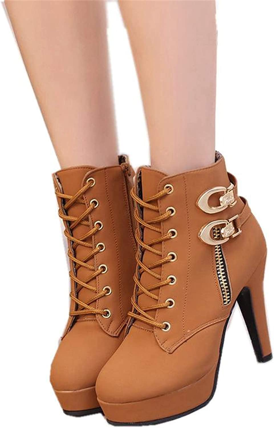 Susan1999 Spring Autumn Women Ankle Boots Female High Heels Lace Up Leather shoes Woman Double Buckle Platform