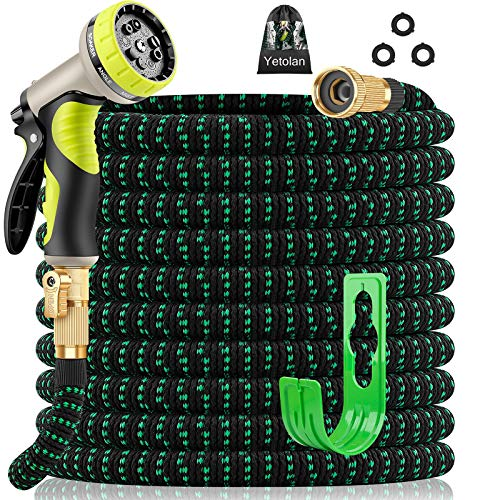 Yetolan Expandable Garden Hose 50 ft with 9 Function High Pressure Nozzle, lightweight Water Hose with Durable 3-Layers Latex Core & 3/4' Solid Brass Fittings, Flexible Hose for Washing and Watering