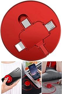 携帯電話のデータケーブル - あらゆる種類のスマートフォンの電話回線、3本の便利な伸縮式充電ラインに適した、コンピュータおよびスマートフォン用の3-in-1多機能データケーブル