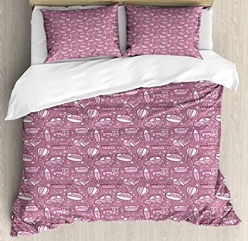 ABAKUHAUS Kleurrijk Dekbedovertrekset, vervoer Elements, decoratieve 3-delige bedset met twee sierslopen, Droog nam Baby Pink