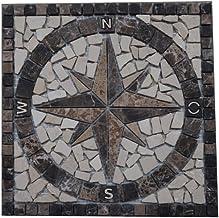 Bricolage Pierre Granit Rosace Mosaique En Carrelage 67x67 Cm X 10 Mm Rose Des Vents
