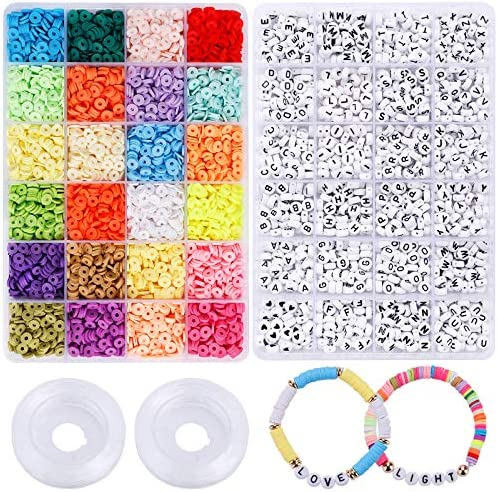 Clay Heishi Beads Letter Beads for Jewelry Making 24 Colors 6mm Polymer Clay Spacer Beads with product image