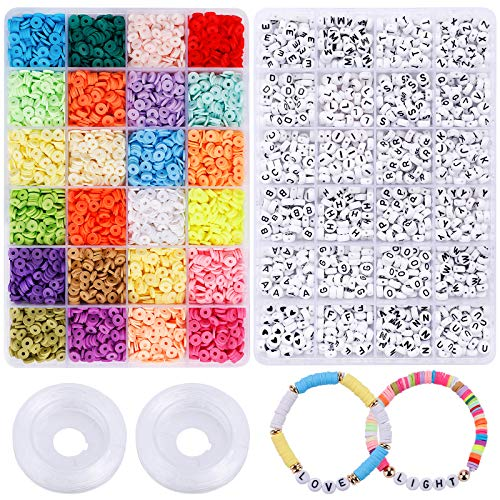 6000pcs Clay Heishi Beads, 1200pcs Letter Beads for Jewelry Making, 24 Colors 6mm Polymer Clay Spacer Beads with Elastic String, Bracelets Necklace Making Kit