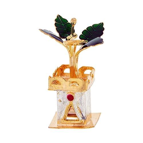 Sri Jagdamba Pearls Golden Silver Tulsi Plant(4X1.5cm)