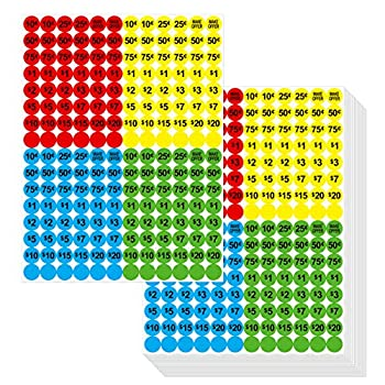 """3840 PCs Garage Sale Flea Market Pre-Priced Pricing Stickers in Bright Colors  Yellow/Red/Green/Cyan  3/4"""" in Diameter"""