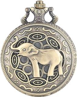 YXZQ Pocket Watch, 3D Cute Long Nose Elephant Figure Retro Bronze Hollow Necklace Quartz Fashion Pendant Watches for Men Women Kids