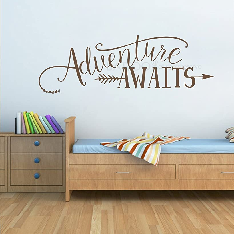 BATTOO Adventure Awaits Wall Decal Stickers, Adventure Quotes Travel Theme Wall Decor, 22