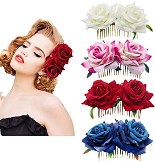 inSowni 4 Pack Rose Flower Side Hair Combs Clips Pins Wedding Bridal Accessories for Women Girls Bride Bridesmaid (4PCS S2)