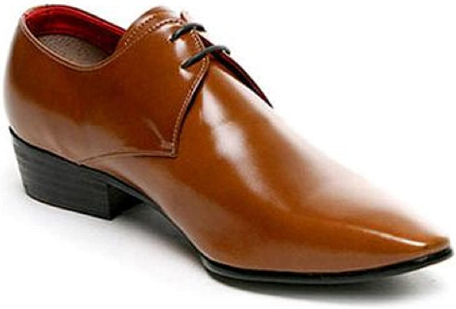 HAPPYSHOP TM Mens Leather British Business Derby Fresno San Francisco Mall Mall Style Suit Shoe