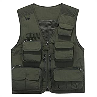 YANXH Men's Multi Pockets Vest Outdoor Fishing Working Camping Photography Gilet, Army Green, l
