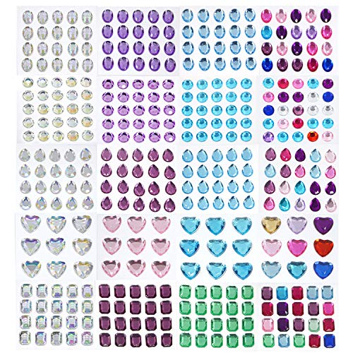 20 Sheets Self-Adhesive Rhinestone Sticker Body Gems Stickers Self Adhesive Craft Jewels Rhinestone Gems Large Size Jewel Stickers for Face, Body, Makeup, Festival, Carnival, Crafts & Embellishments