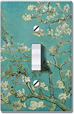 WIRESTER Single Gang Toggle Light Switch Plate/Wall Plate Cover - Almond Blossom Van Gogh