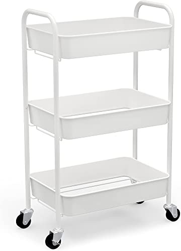 discount CAXXA 3-Tier Rolling Metal Storage Organizer - Mobile Utility lowest Cart Kitchen discount Cart with Caster Wheels, White outlet sale