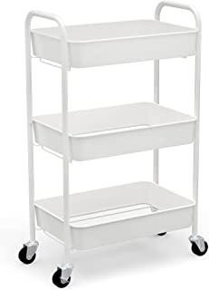 CAXXA 3-Tier Rolling Storage Organizer Organizer - سبد خرید همراه با چرخهای چرخ ، سفید