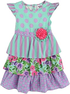 Counting Daisies Girls Size 2T-6X Mint Dot Lilac Floral Ruffle Dress
