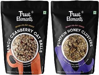 True Elements Tangy Cranberry Oat Balls 125g + Pumpkin Seeds Honey Clusters 125g - Healthy Snacks