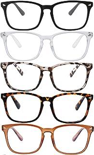 Blue Light Glasses - 5Pack Computer Game Glasses Square Eyeglasses Frame, Blue Light Blocker Glasses for Women Men, Anti Eye Eyestrain Glasses (Black Leopard White Tortoiseshell Brown)