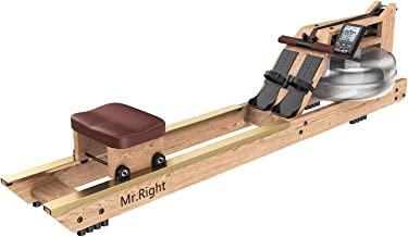 Mr. right Water Rowing Machine for Home Use,Oak Wood Water Rower with Customizable Bluetooth LCD Monitor (Rower Cover and Electric Water Pump Included)