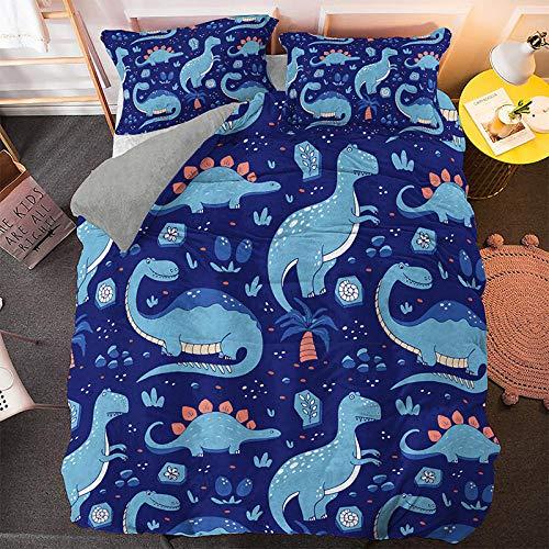 RITIOA Ropa de cama 3D, diseño de dinosaurios, funda nórdica de microfibra, funda de edredón con cremallera, funda de almohada -I_135_x_200_cm