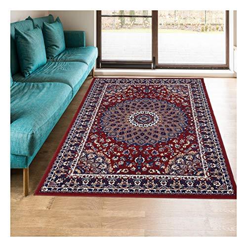 UN AMOUR DE TAPIS - Tapis Salon AF rosor Rouge, écru, Bleu, Orange, Beige - 160 x 230 cm - Tapis d