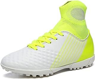 Calzado de fútbol para niños, zapatos fútbol caña alta para hombres zapatos entrenamiento competición uñas largas al aire libre para interiores zapatos fútbol césped artificial para niños,White,40