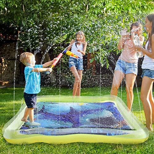 Satkago 67 Pulgadas Square Water Sprinkle Pad Splash Play Mat, Toddler Water Toys Diversión para niños Niños Fiesta al Aire Libre(170*170cm)