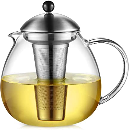 Glastal Glas Teekanne 1500ml mit 18/10 Edelstahl Teesieb Große Borosilicate Glas Teebereiter auf Stove Glaskanne mit Entfernbar Seib preisvergleich bei geschirr-verleih.eu