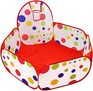 Kids Ball Pit Tent with Basketball Hoop Ball Pit Playpen Tent Pool with Hoop and Carry Case Storage Bag for Toddlers 3.28 ft/100cm Balls not Included