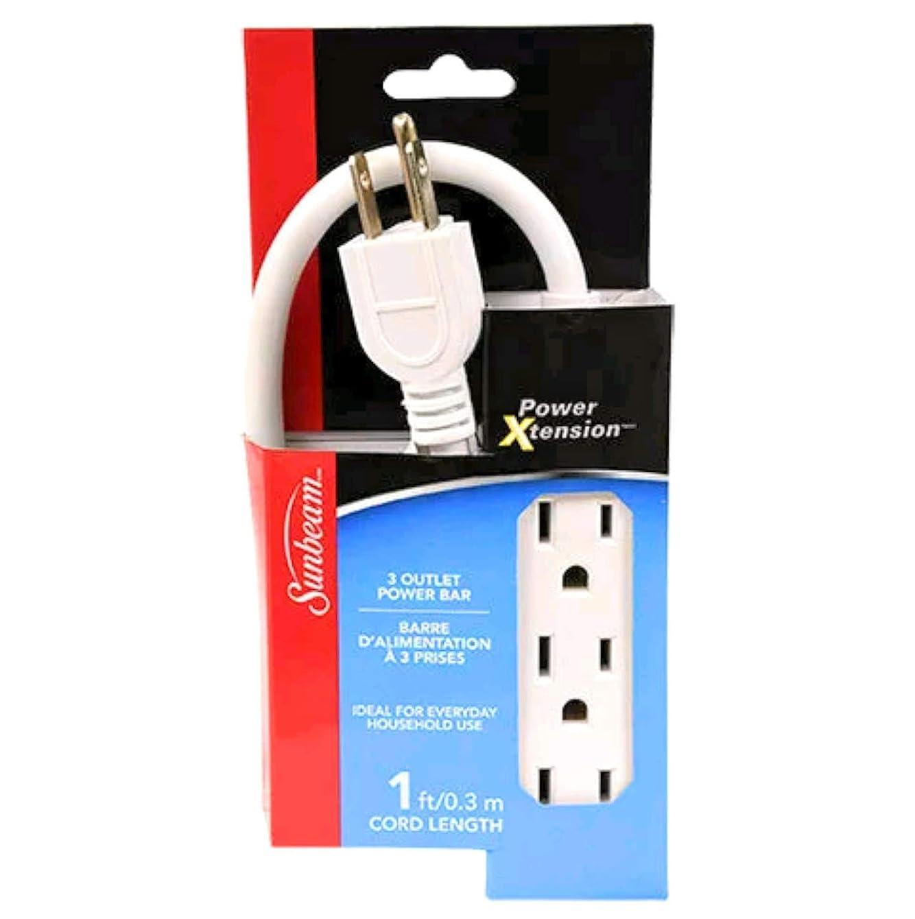 Sunbeam 3 Outlet Power Bar Extension Cord