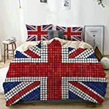 Juego de Funda nórdica Beige, Bandera británica de Mosaico de Union Jack, Juego de Cama Decorativo de 3 Piezas con 2 Fundas de Almohada