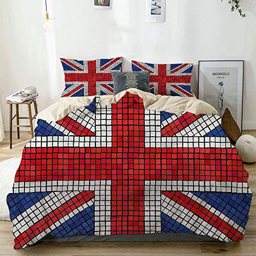 Juego de Funda nórdica Beige, Bandera británica de Mosaico de Union Jack, Juego de Cama Decorativo de 3 Piezas con 2 Fundas de Almohada de fácil Cuidado, antialérgico, Suave y Liso