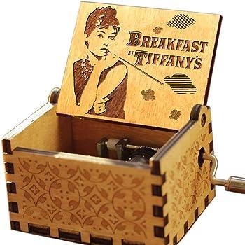 Cuzit Audrey Hepburn Caja de música – Desayuno en la Caja de música Antigua Tallada de Tiffany – Manivela de Madera Caja Musical de Juguete: Amazon.es: Hogar