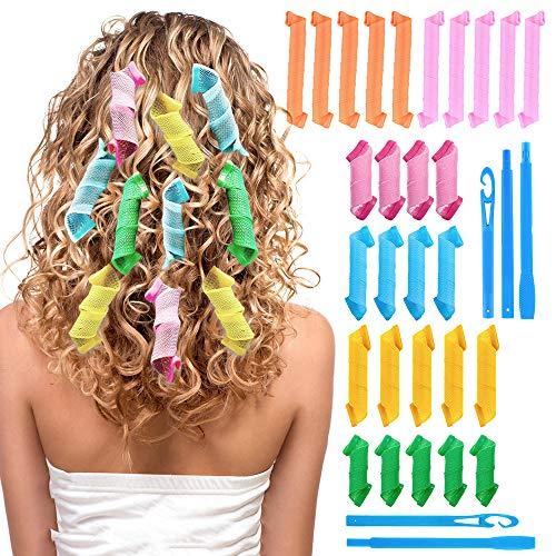 28 Stück Lockenwickler, Manuelle Haar Curler Ohne Hitze, Spiral Hair Styling Waves Curls Kit mit Locken Haken für Mittellanges Lange Kurzhaar Haar