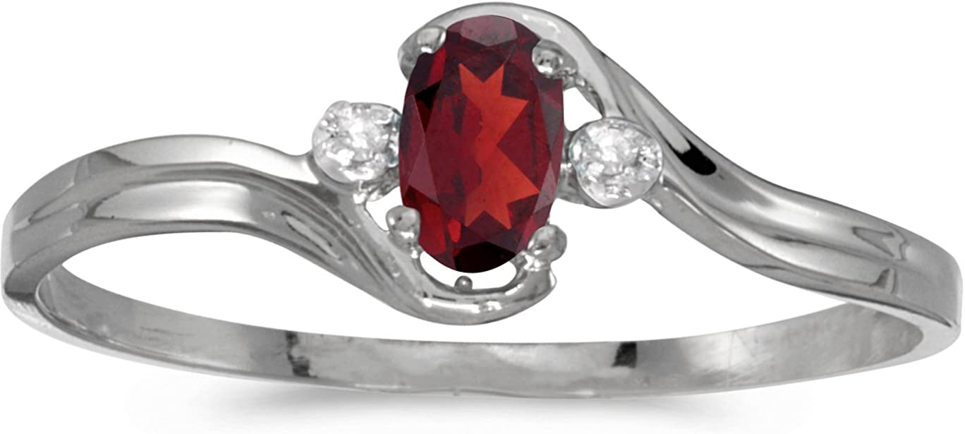 BillyTheTree NEW Jewelry A surprise price is realized 14k White Gold and Garnet Oval Ring Diamond