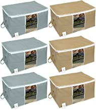 Homestrap Big Underbed Storage Bag/Storage Organiser/Grey & Beige (Pack of 6)