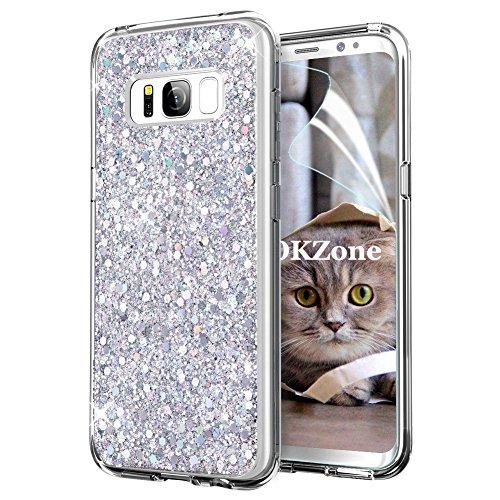 OKZone Cover Samsung Galaxy S8 Plus, Custodia Lucciante con Brillantini Glitters Ultra Sottile Designer Case Cover per Samsung Galaxy S8 Plus (Argento)
