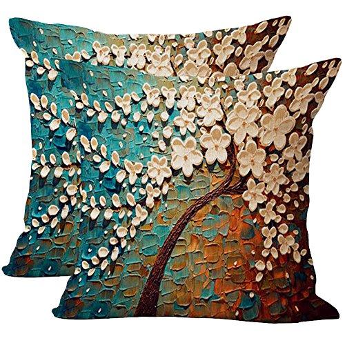 JOTOM Kissenbezug 45 x 45 cm, Baumwolle Leinen Ölgemälde Bäume Taille Wurf Kopfkissenbezug für Zuhause Sofa Schlafzimmer Dekoration (Blaue weiße Blume)