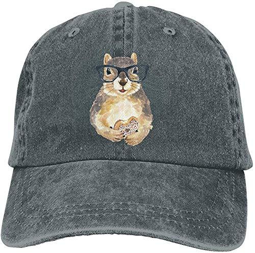 DSFJK Nerdy Eichhörnchen Mit Glas Und Dessert Baseball Cap Unisex Distressed Hats Verstellbare Plain Cap