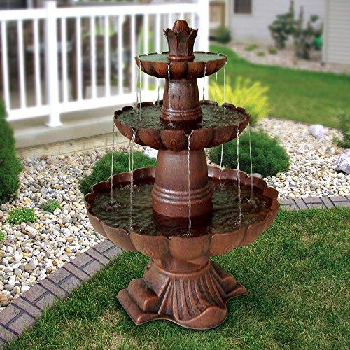 Alpine Corporation 3-Tiered Pedestal Water Fountain and Bird Bath - Ceramic Vintage Decor for Garden, Patio, Deck, Porch - Bronze
