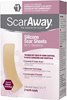 ScarAway Silicone Scar Sheets for C-Sections, Treats and Prevents Raised and Discolored C-section Scars, Silicone Adhesive Soft Fabric 4-Sheets, (7 X 1.5 Inch)