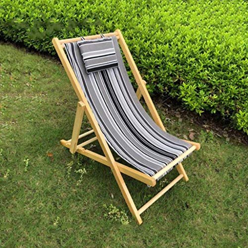 Sun Lounger Garden Chairs Foldable Deck Chair Outdoor Beach Recliner Chair, with Pillow Folding Sun Lounger Balcony Siesta Chaise Longue Collapsible (Color, B),K