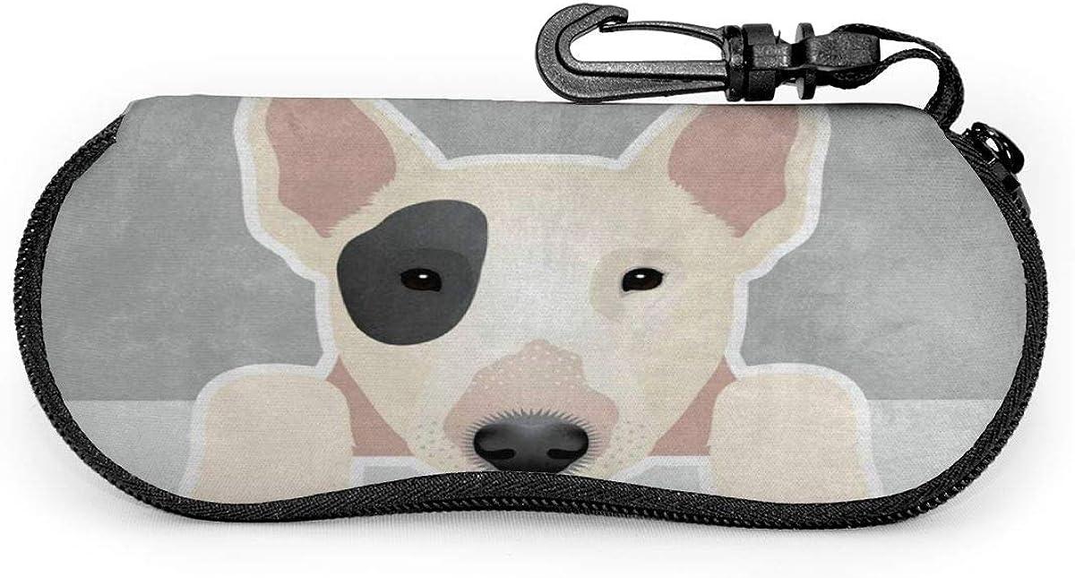 Funny Dog Bull Terrier Sunglasses Soft Case Ultra Light Neoprene Zipper Eyeglass Case With Key Chain