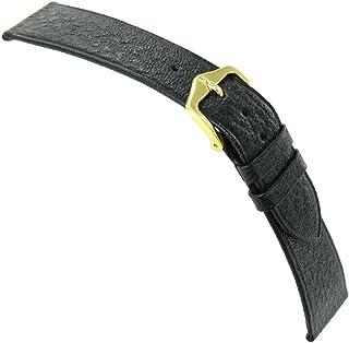 18mm Hirsch Black Saddle Genuine Leather Unstitched Flat Watch Band