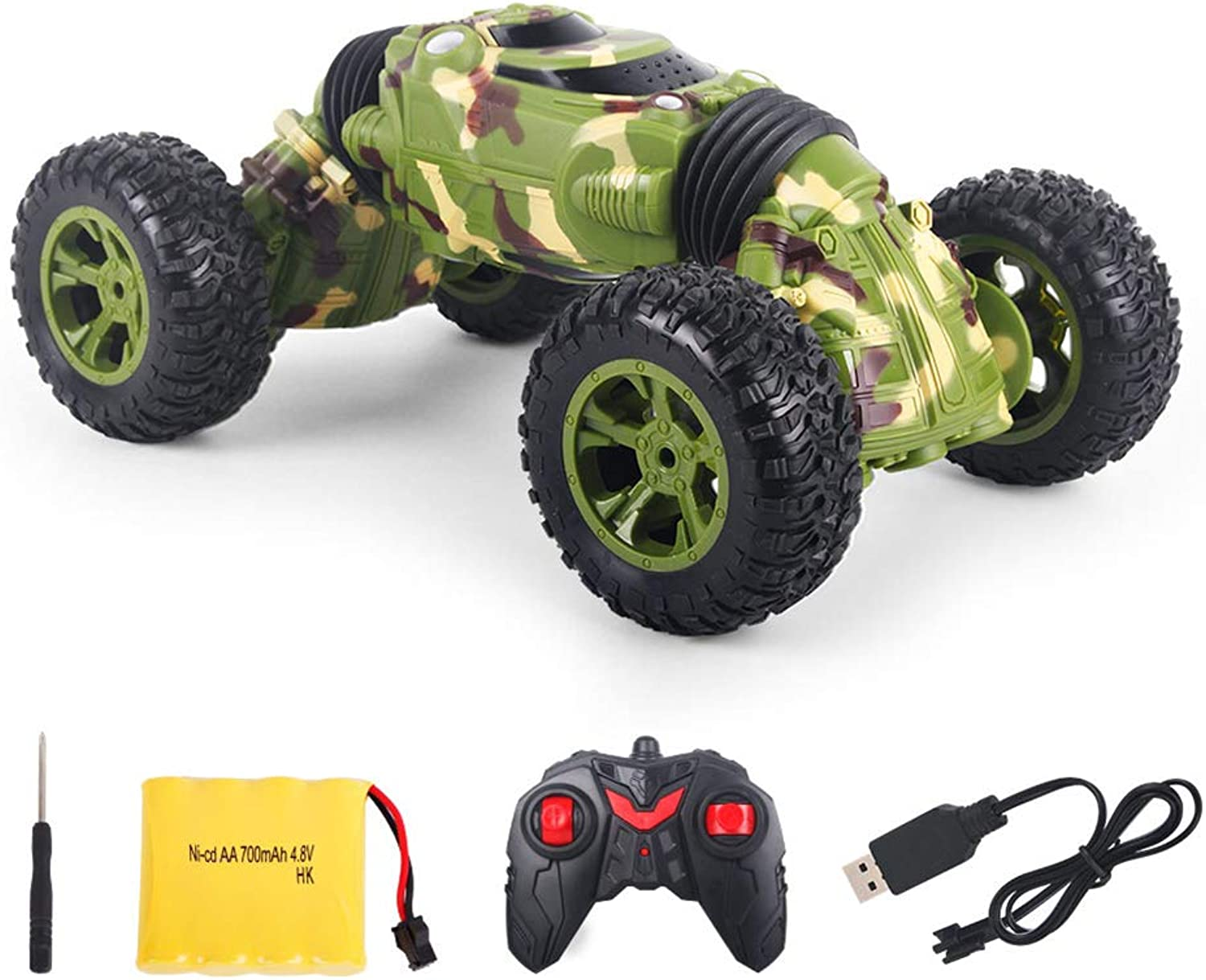 PinShang 1 16 2.4G USB Rechargeable Deformation RC Climbing Car Kids Toy Green 1 16